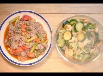 アヒージョと牛肉、野菜のオイスター炒め